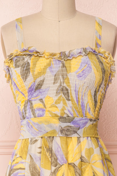 Sigfrid Yellow & Lilac Floral Midi Summer Dress | Boutique 1861