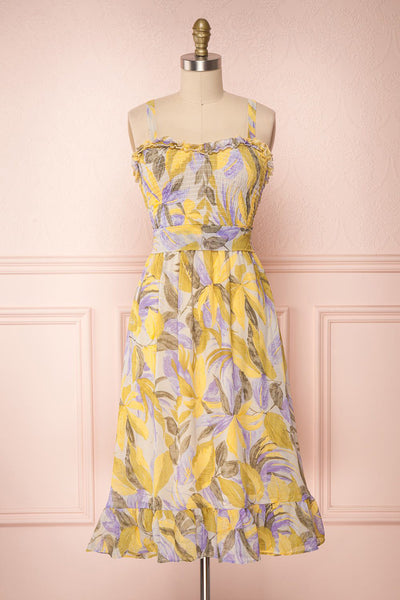 Sigfrid Yellow & Lilac Floral Summer Dress | Boutique 1861