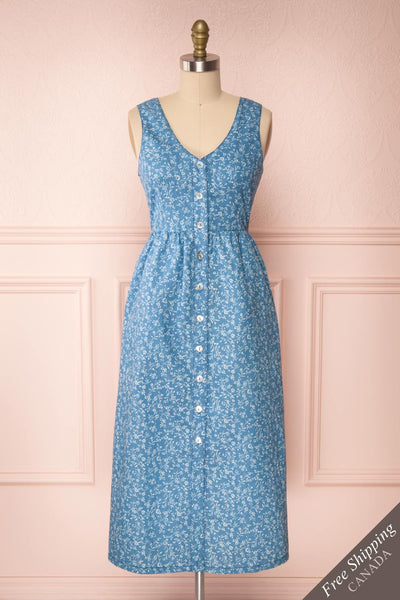 Sihem Blue Patterned Midi Dress w/ Pockets | Boutique 1861 front view FS