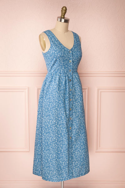 Sihem Blue Patterned Midi Dress w/ Pockets | Boutique 1861 side view