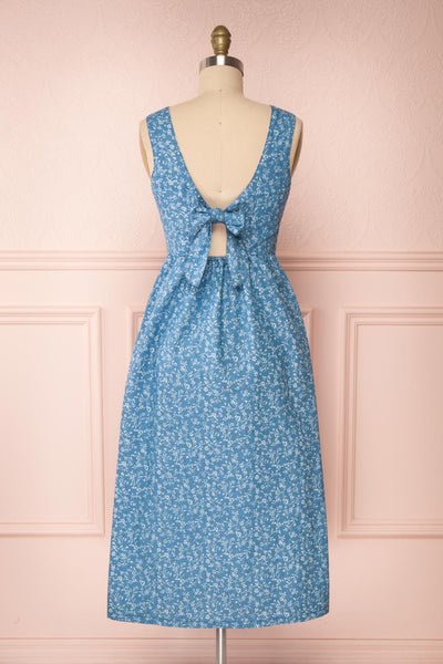 Sihem Blue Patterned Midi Dress w/ Pockets | Boutique 1861 back view