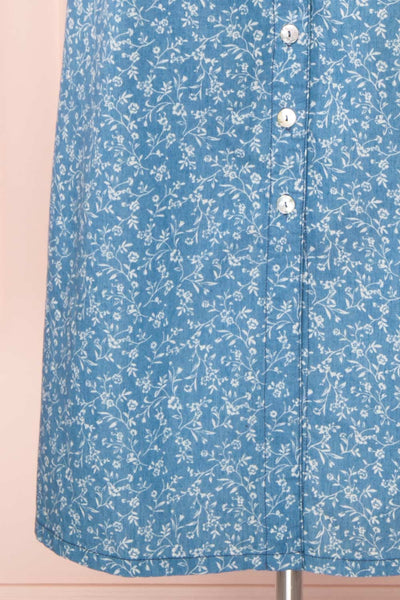 Sihem Blue Patterned Midi Dress w/ Pockets | Boutique 1861 bottom