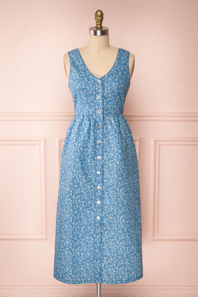 Sihem Blue Patterned Midi Dress w/ Pockets | Boutique 1861