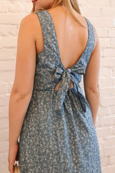 Sihem Blue Patterned Midi Dress w/ Pockets | Boutique 1861 on model