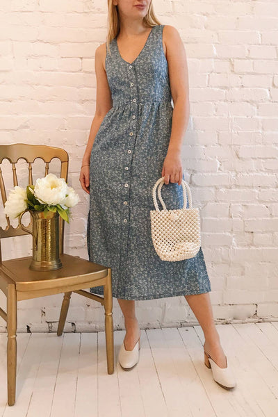 Sihem Blue Patterned Midi Dress w/ Pockets | Boutique 1861 model look