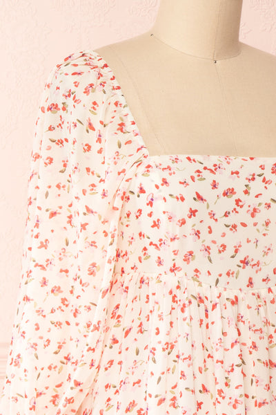 Silaca White Floral Chiffon Short Dress | Boutique 1861 side close-up