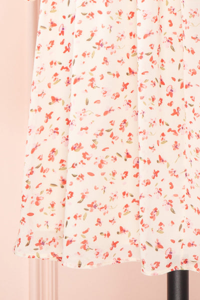 Silaca White Floral Chiffon Short Dress | Boutique 1861 bottom