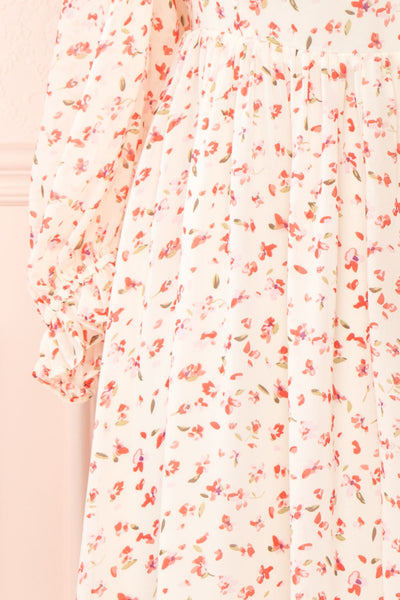 Silaca White Floral Chiffon Short Dress | Boutique 1861 sleeve