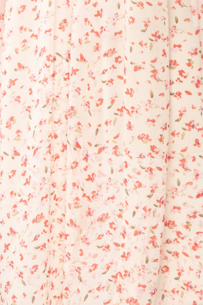 Silaca White Floral Chiffon Short Dress | Boutique 1861 fabric