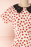 Simonette Ivory Red Heart Pattern Midi Dress | Boutique 1861 front close-up