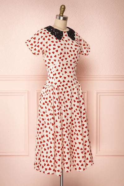 Simonette Ivory Red Heart Pattern Midi Dress | Boutique 1861 side view