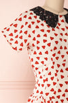 Simonette Ivory Red Heart Pattern Midi Dress | Boutique 1861 side close-up