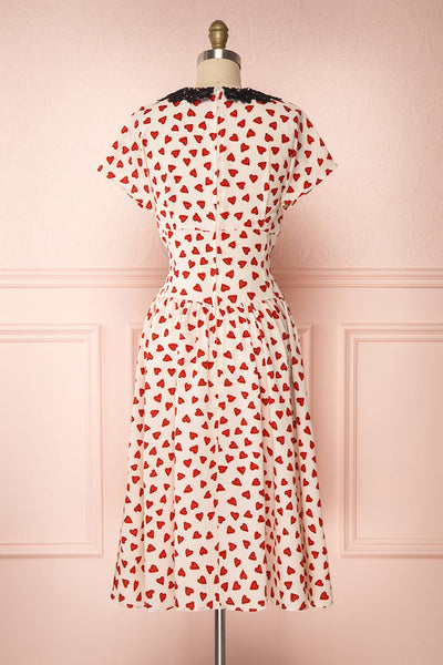 Simonette Ivory Red Heart Pattern Midi Dress | Boutique 1861 back view