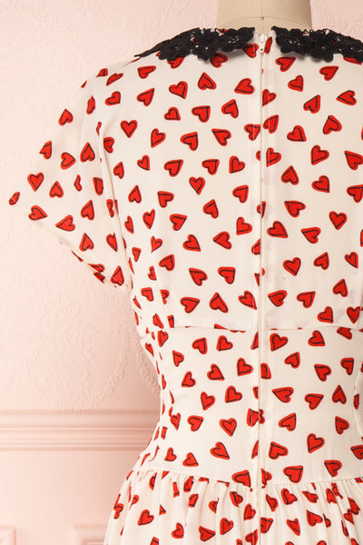 Simonette Ivory Red Heart Pattern Midi Dress | Boutique 1861 back close-up