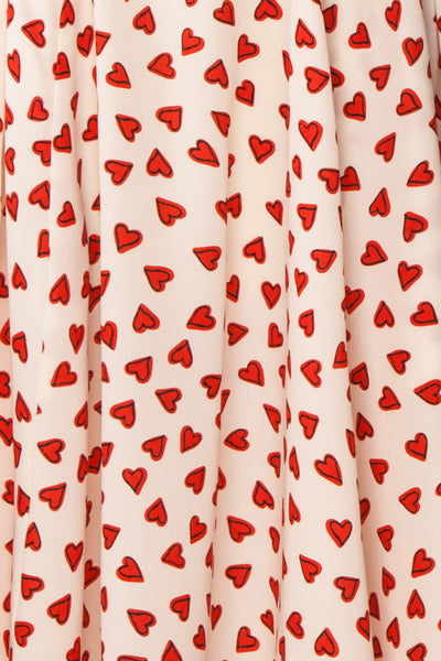 Simonette Ivory Red Heart Pattern Midi Dress | Boutique 1861 fabric detail
