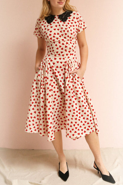 Simonette Ivory Red Heart Pattern Midi Dress | Boutique 1861 on model