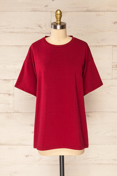 Sindi Burgundy Oversized Cotton T-Shirt | La petite garçonne front view