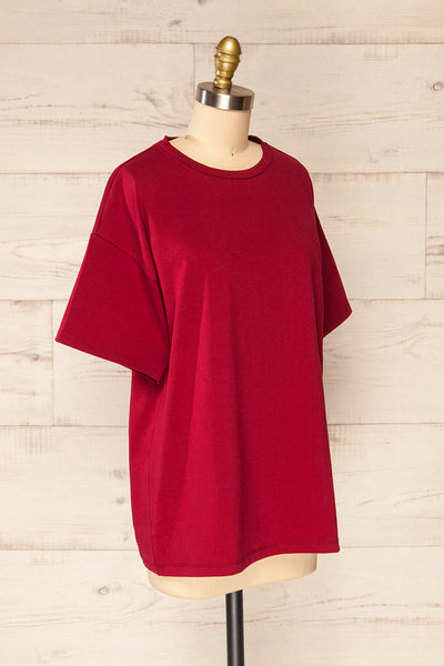 Sindi Burgundy Oversized Cotton T-Shirt | La petite garçonne side view