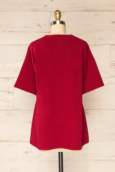 Sindi Burgundy Oversized Cotton T-Shirt | La petite garçonne back view