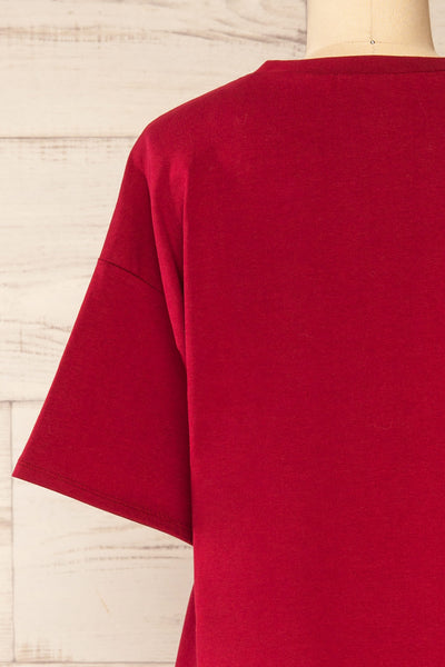 Sindi Burgundy Oversized Cotton T-Shirt | La petite garçonne back close-up