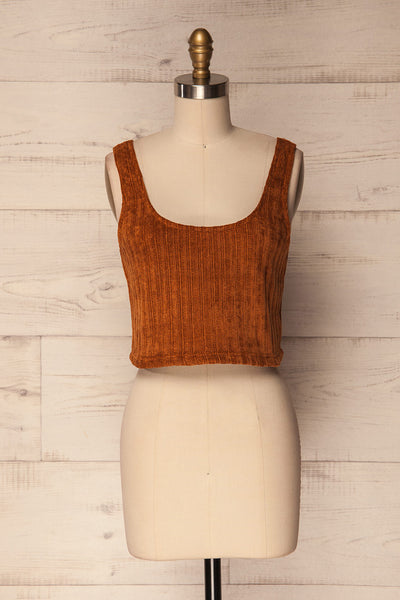 Sinsin Rust Orange Knit Crop Tank Top | La Petite Garçonne Chpt. 2