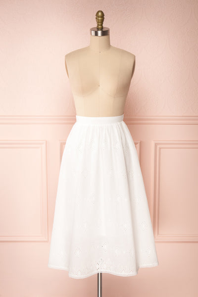 Sioban White High-Waisted Openwork Midi Skirt | Boutique 1861 back view