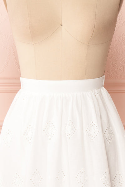 Sioban White High-Waisted Openwork Midi Skirt | Boutique 1861 front close up
