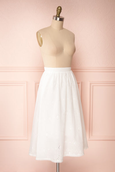 Sioban White High-Waisted Openwork Midi Skirt | Boutique 1861 side view