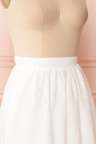Sioban White High-Waisted Openwork Midi Skirt | Boutique 1861 side close up