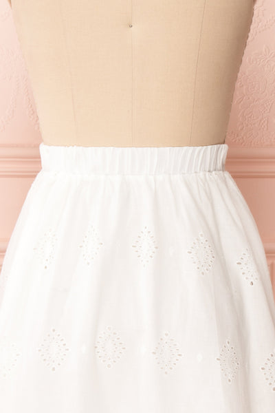 Sioban White High-Waisted Openwork Midi Skirt | Boutique 1861 back close up