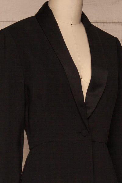 Siracusa Black Blazer Romper | Combishort | La Petite Garçonne side close-up