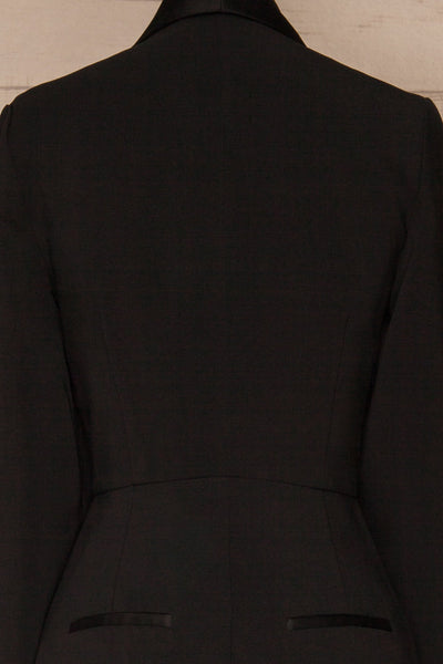 Siracusa Black Blazer Romper | Combishort | La Petite Garçonne back close-up