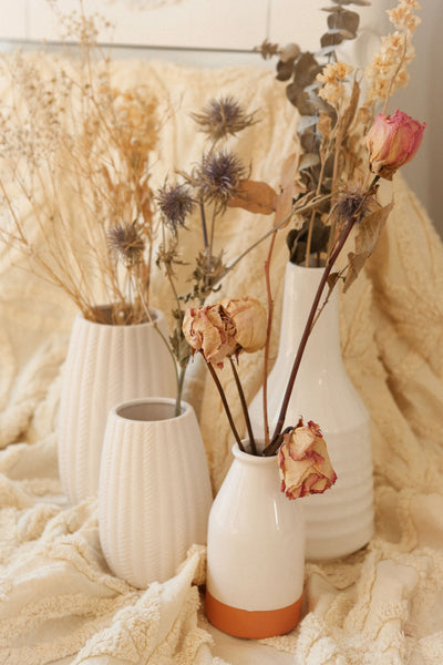 Josune White Textured Vase