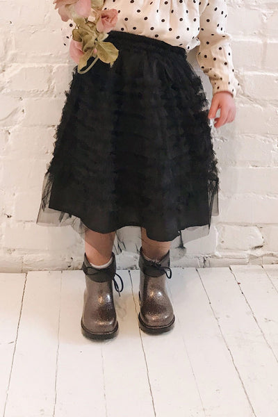 Lamiss Mini Black Ruffled Tulle Kid's Skirt | Boutique 1861 on model