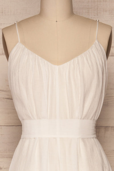 Skogar White Wide Leg Jumpsuit w/ Belt | La petite garçonne  front close-up