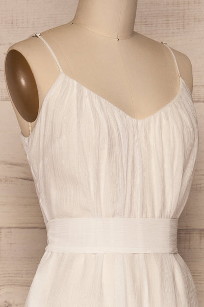 Skogar White Wide Leg Jumpsuit w/ Belt | La petite garçonne side close-up