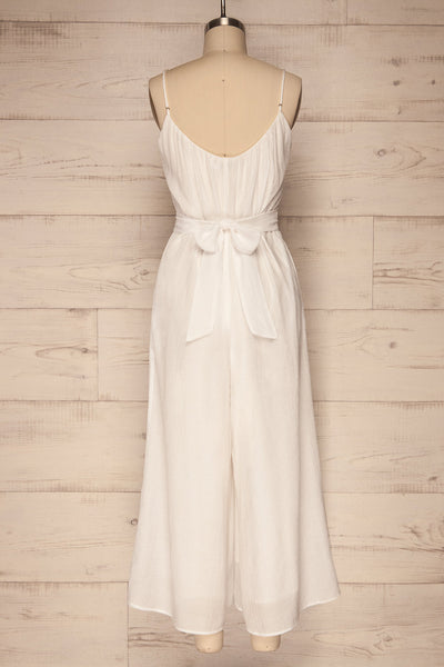 Skogar White Wide Leg Jumpsuit w/ Belt | La petite garçonne back view