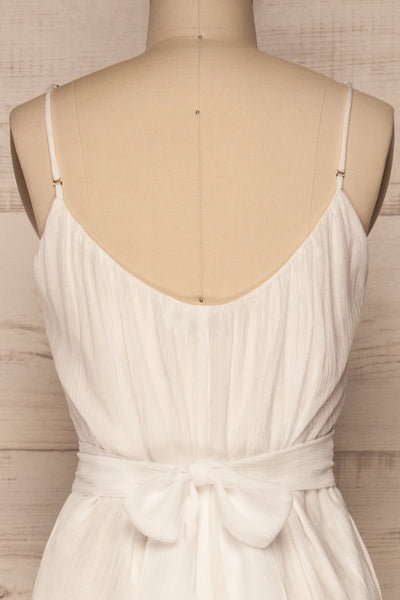 Skogar White Wide Leg Jumpsuit w/ Belt | La petite garçonne back close-up