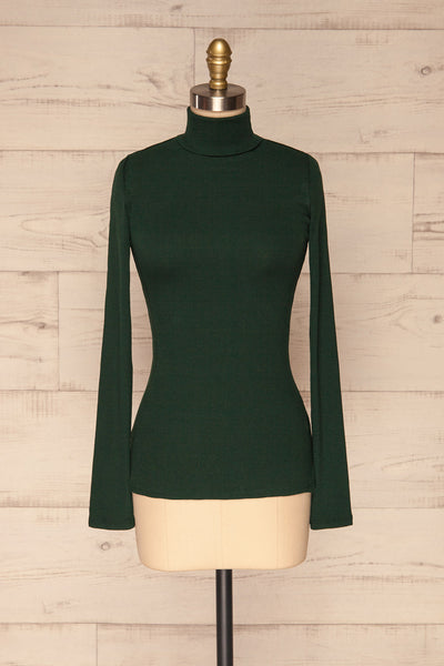 Sliema Green Turtleneck Ribbed Knit Top | La Petite Garçonne front view