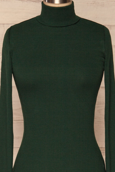 Sliema Green Turtleneck Ribbed Knit Top | La Petite Garçonne front close-up