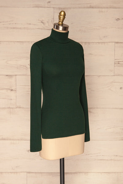 Sliema Green Turtleneck Ribbed Knit Top | La Petite Garçonne side view