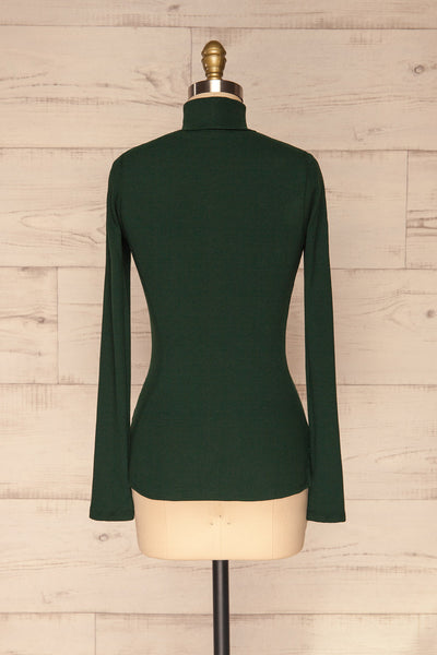 Sliema Green Turtleneck Ribbed Knit Top | La Petite Garçonne back view