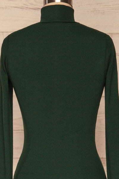 Sliema Green Turtleneck Ribbed Knit Top | La Petite Garçonne back close-up