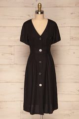 Smyrni Coal Black Linen Button-Up Flare Dress | La Petite Garçonne