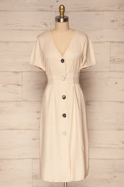 Smyrni Sand Beige Linen Button-Up Flare Dress | La Petite Garçonne