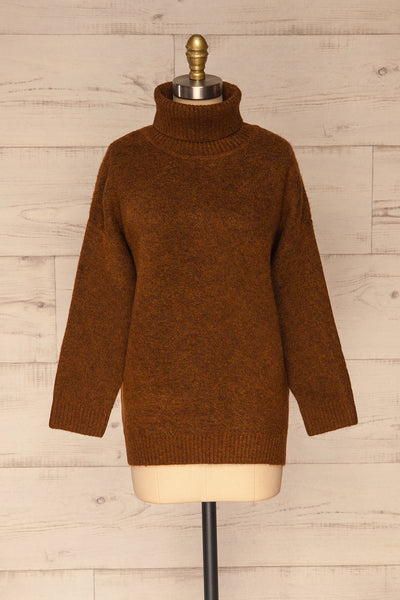 Sochi Brown Turtleneck Knit Sweater | La petite garçonne front view
