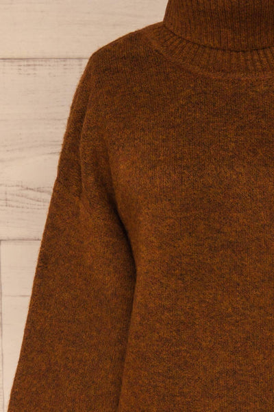 Sochi Brown Turtleneck Knit Sweater | La petite garçonne  front close-up