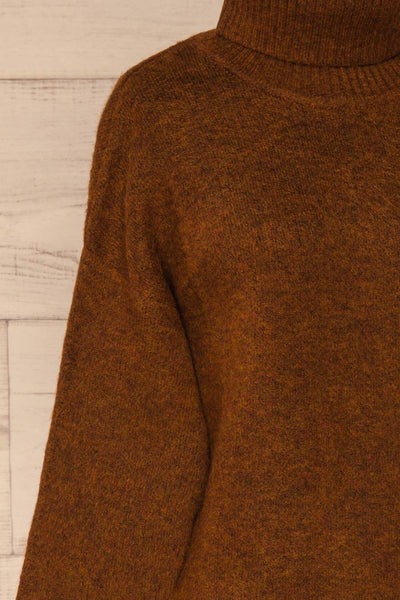 Sochi Brown Turtleneck Knit Sweater | La petite garçonne  side close-up
