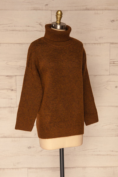 Sochi Brown Turtleneck Knit Sweater | La petite garçonne  side view