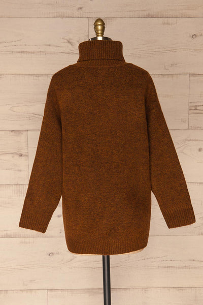 Sochi Brown Turtleneck Knit Sweater | La petite garçonne  back view